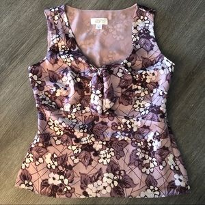 Anne Taylor Loft Purple Floral Sleeveless Top 0